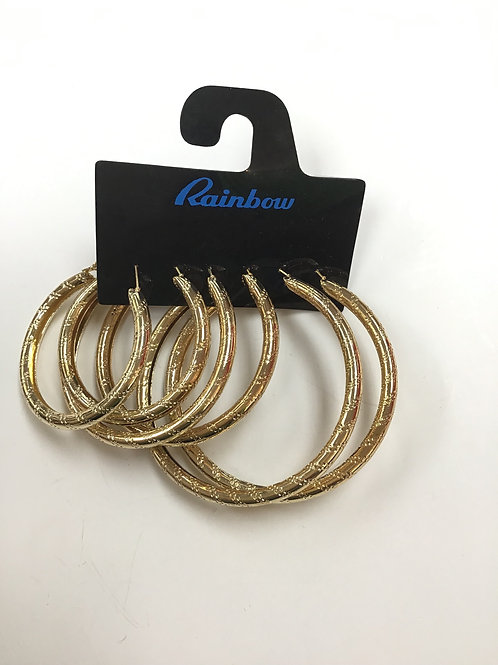 Gold Hoop Earings 3 Pair