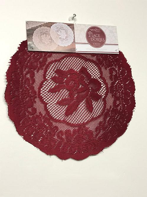 American Linen 2 Lace Dotlies (Burgundy)