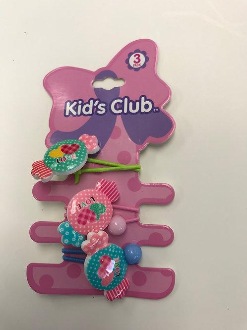 Kid's Club Love Candy Hair Ties 3Pk