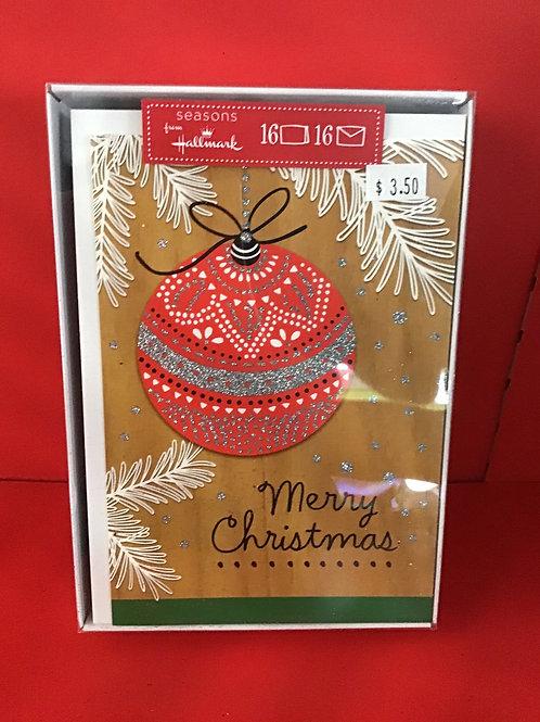 16 Hallmark Ornament Box Christmas Cards