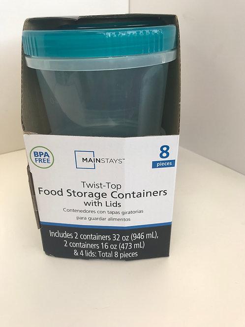 8 PC Twist Top Food Storage Container