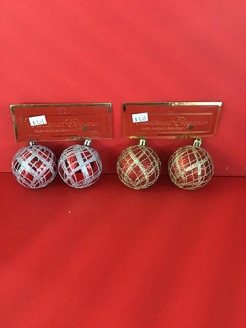 2 Pk Ornament Tree Ball Assorted