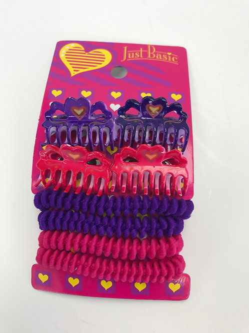 Just Basic Small Claw Clips & Hair Ties Set