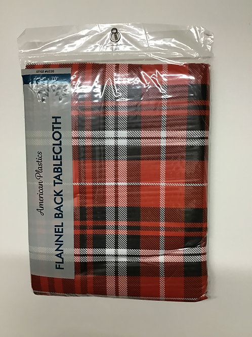 "American Plastics Flannel Back Tablecloth (Red Plaid) 52"" X 70"""