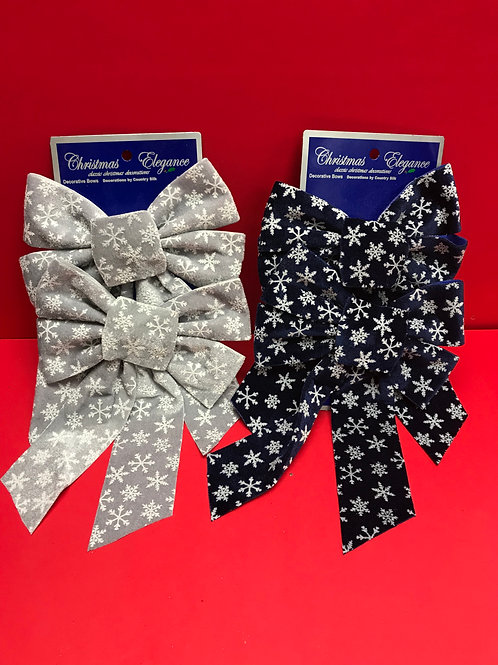 2 Pk Velvet Bow w/Snow Flakes Assorted