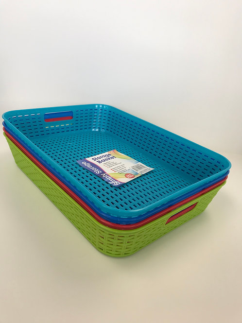 Simply Storage Basket Assorted Colors 14 in X 10 in X 2.5 in