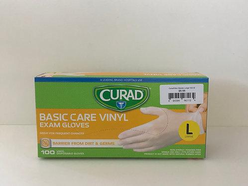 Curad Basic Care Vinyl Gloves (Large) 100 Ct