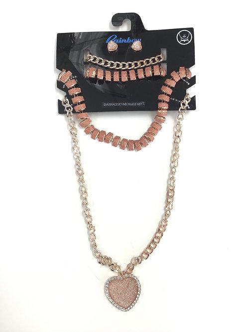 Rose Gold Bracelet/ Necklace/ Earings Set
