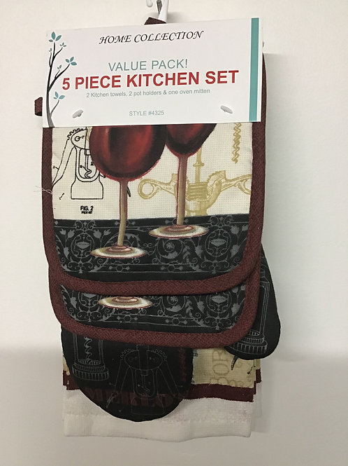 Home Collection 5 pc Kitchen Set (2 wine glasses)
