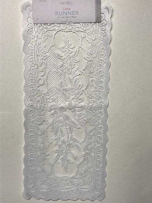 American Linen Lace Runner (White)