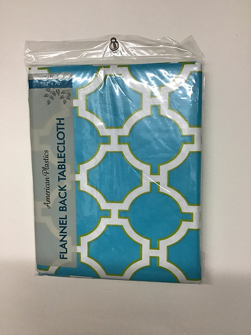 """American Plastics Flannel Back Tablecloth (Blue Circles) 52"""" X 70"""""""