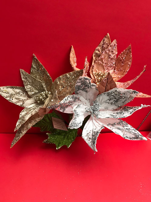 Long Stem Diamond Velvet Single Poinsettia Assorted