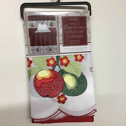 American Linen 3 pc Embroidered Window Curtains (Fruit)