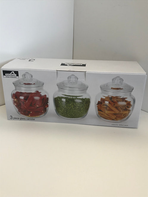 3 Pc Glass Canister Set