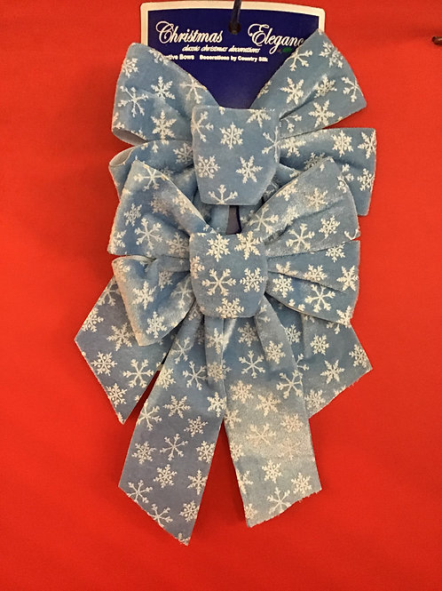 2 Pk Velvet Bow w/Snow Flakes