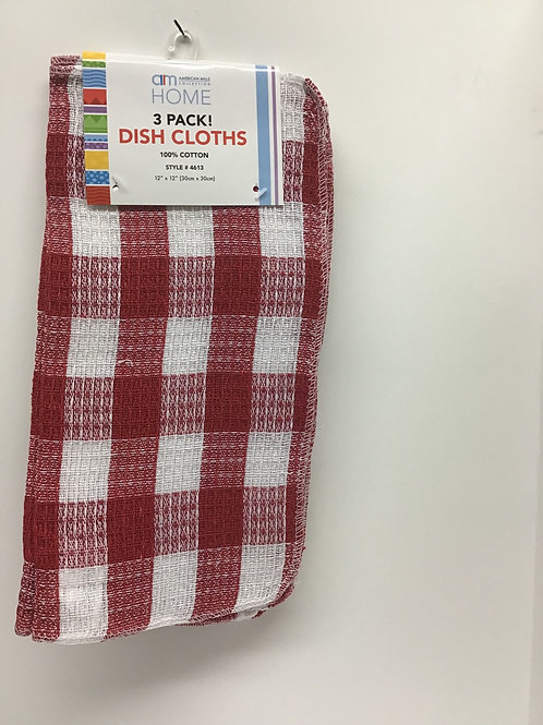 American Mills 3 pk Dish Cloths (Red)