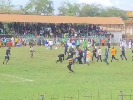 SUNYANI CORONATION PARK: Referee Beaten For Awarding A Penalty To Away Team (Video+Pics)