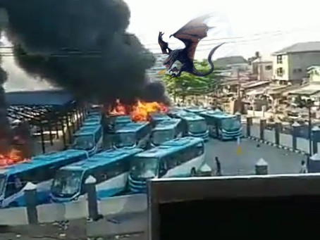 NIGERIA: Dragon Captured Flying Amid #EndSARS Scuffle (Pictures)
