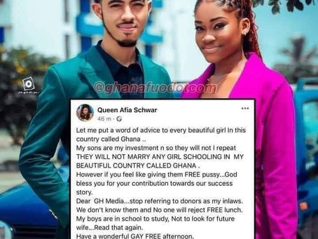 """My Sons Will Not Marry Any Girl Schooling In Ghana"" - Afia Schwar"