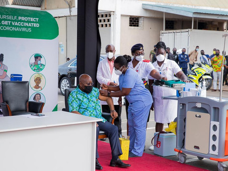 President Akufo-Addo And Wife Takes Covid-19 Vaccination Injection (Pictures/Video)