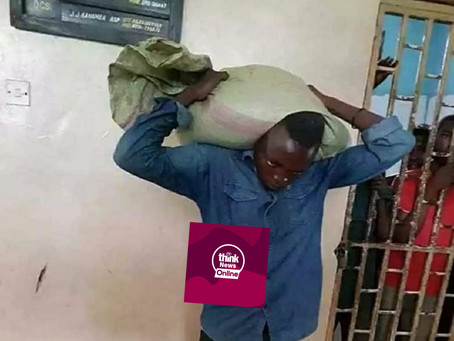 UPPER EAST REGION: Wahala For Thief As Stolen Maize In Sack Gets Stuck To His Neck (Pictures)