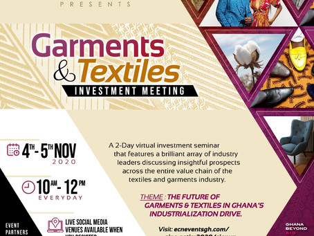 BUSINESS NEWS: GIPC Set To Organise First-Ever Garments, Textiles Investment Meeting On Nov 4 - 5
