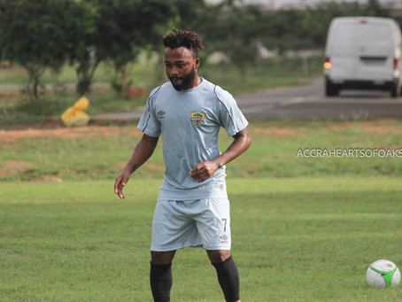 Hearts of Oak New Signing, Gladson Awako Trains For The First Time With The Club