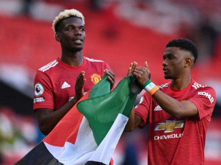 Manchester United Stars, Paul Pogba And Amad Diallo Wave Palestine Flag After Premier League Match