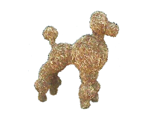 Large Poodle topiary stuffed; side view.