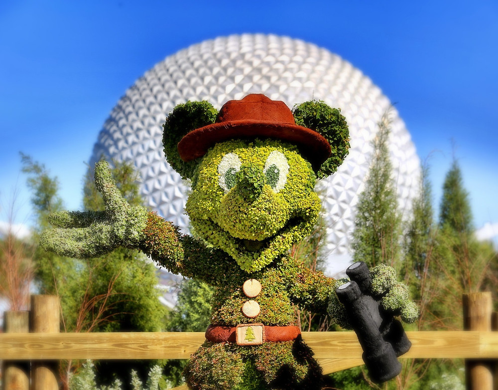 Mickey Topiary with Epcot's Spaceship Earth Ball in the background