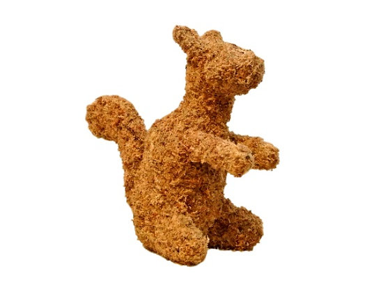 Squirrel topiary stuffed; side view.
