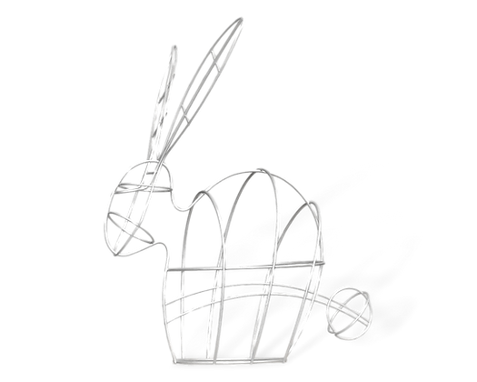 Large Bunny topiary frame; side view.