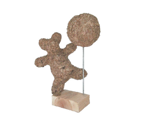 Dancing Bear and Tree topiary stuffed; front view.
