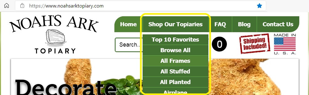 Homepage with the Shop Our Topiaries menu expanded.