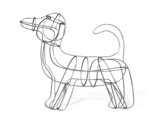 Dachshund topiary frame; side view.