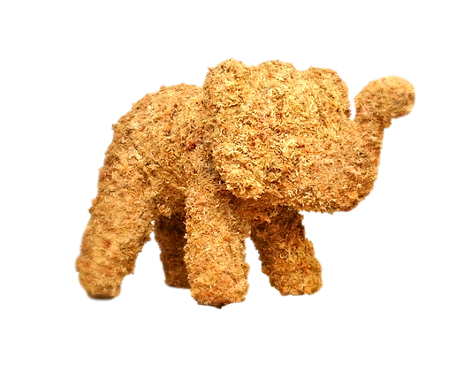 Medium Elephant topiary stuffed; front view.