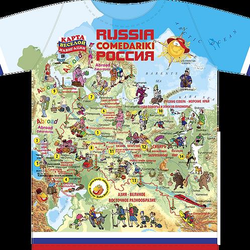 T-shirts Russia Fun Map/Футболка Карта Веселая Россия