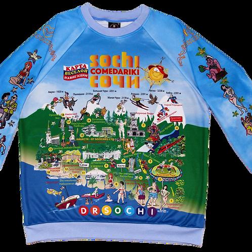 Sweet-Shirt Sochi Fun Map/Свитер Карта Веселый Сочи