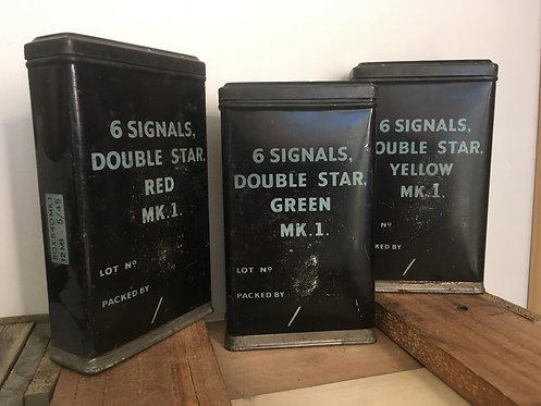 Vintage Military Signal Flare Tins