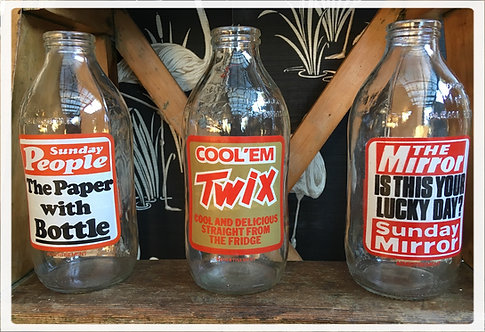 1970's British Retro Milk Bottles