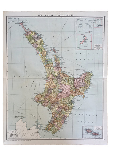 Vintage Map of The North Island of New Zealand