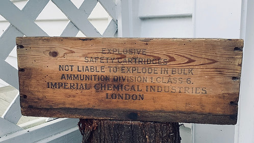 Vintage Wooden Pine Advertising Ammo Box