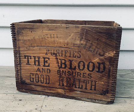 Antique Wooden Pine Advertising Box