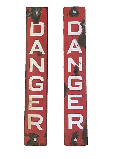 Vintage British Enamel 'Danger' Sign