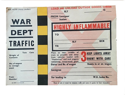 WW2 Train Explosives Ticket