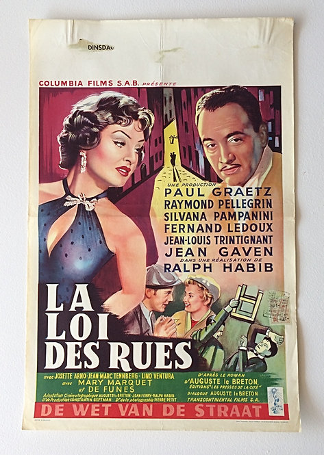 1956 Law Of The Streets Original Belgian Film Poster