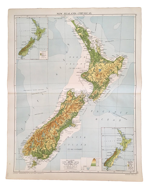Vintage Physical Map of New Zealand