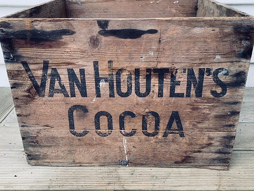Vintage Wooden Pine Cocoa Advertising Box