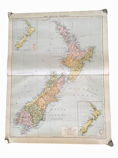 Vintage Political Map of New Zealand