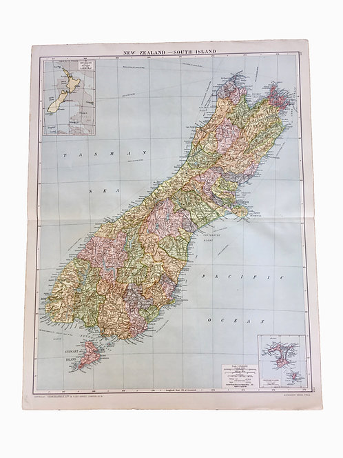 Vintage Map of The South Island of New Zealand
